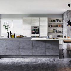 Betonlook en marmerlook eiland keuken