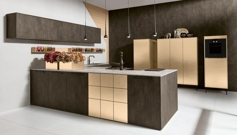 Betonlook keuken met goud