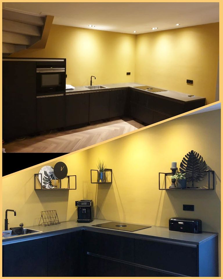 Donkere keuken grijs blad
