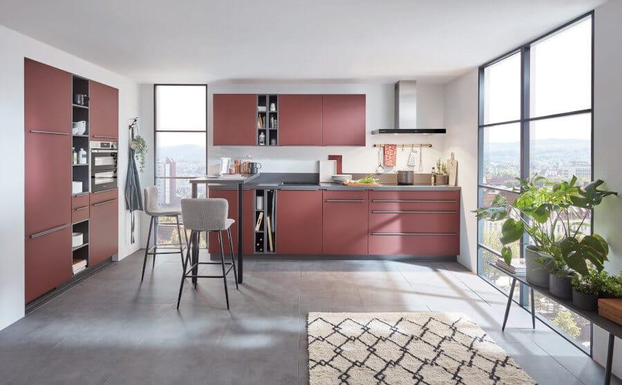 Rode keuken met bar