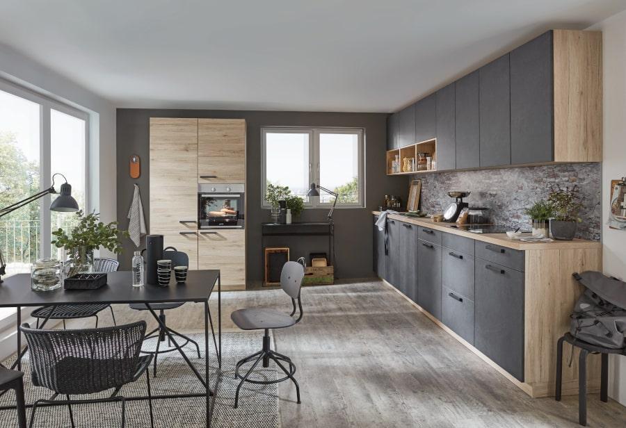 Grijze keukens met hout